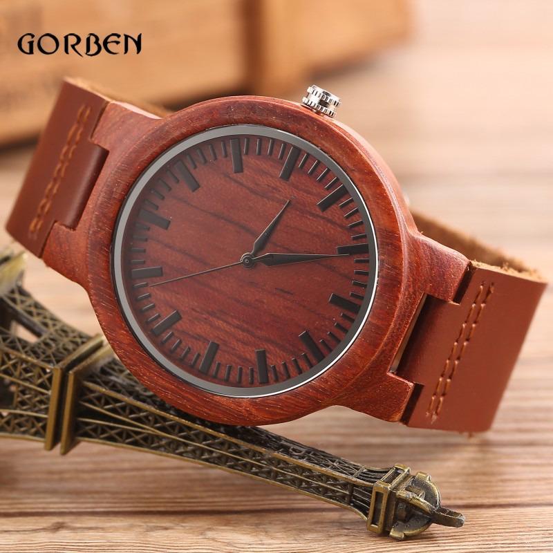 2016 New Men's Wooden Bamboo Watch with Cowhide Leather band Red brown Quartz Sports Watch mens Gifts Box Relogio Masculino hl 001 bamboo flute red brown 50cm