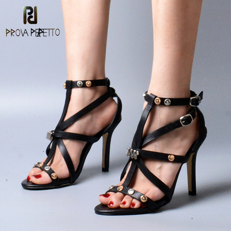 Prova Perfetto Rome Style Concise Design Cross-tied Narrow Band Ankle Buckle Strap Sandals Genuine Leather Thin High Heel Shoes prova perfetto mixed color chunky high heel rome style women sandals rivet decoration buckle genuine leather shoes mujer zapatos