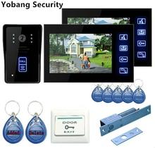 Yobang Security freeship 7″ LCD touch keypad Home Video Intercom Door phone With 2 Monitors+ Door Camera with RFID keyfobs