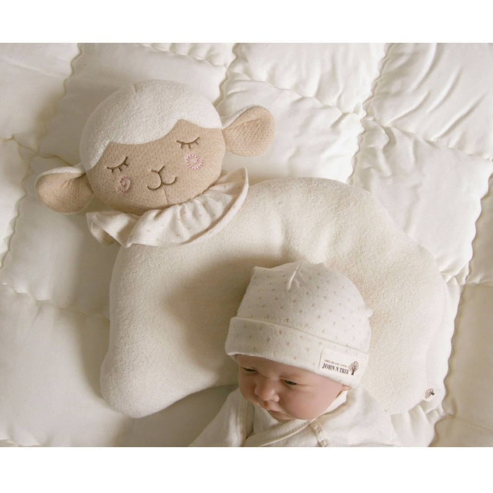 Candice guo plush toy stuffed doll cartoon animal sheep baby pillow sleeping cushion children birthday present christmas gift lace trim tunic top