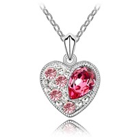 Austrian Pink Crystal Heart Necklaces Pendants White Gold Plated Costume Jewelry Romantic Gift Women Necklace Lover