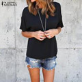 Women Blouses 2017 Summer Shirts O Neck Short Sleeve Irregular Hem Blusas Casual Loose Oversized Tees Tops Plus Size S-5XL