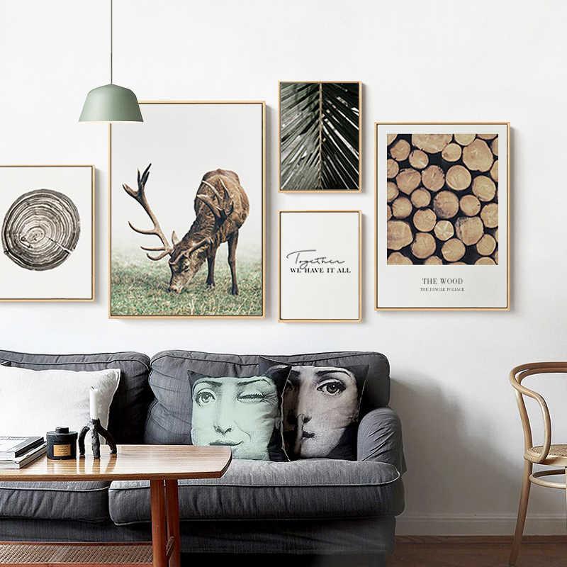Skandinavischen Poster Nordic Stil Deer Holz Wand Kunst Leinwand Druck Malerei Dekorative Bild Moderne Wohnzimmer Dekoration