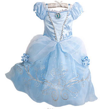 Gratis Verzending Vlinder Cinderella Prinses Kostuum Kids Party Meisjes Cosplay Gown Fancy Dress
