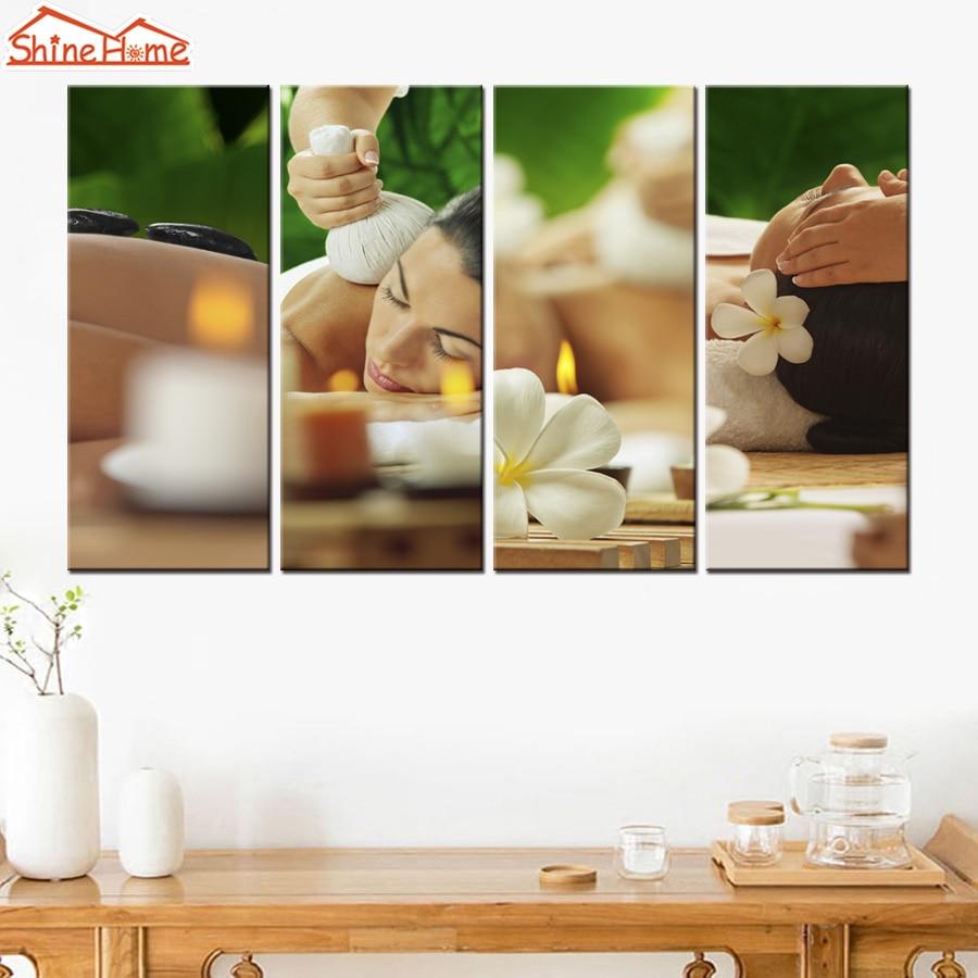 Shinehome 4pcs Wall Art Canvas Painting Printing Spa Yoga: ShineHome 4pcs Wall Art Canvas Print Paintings Modular