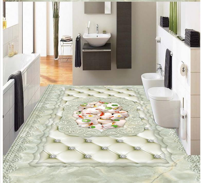 3d sol peinture papier peint Style européen Lotus carpe marbre Parquet 3D sol pvc sol papier peint