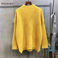 Weinsky Casual Women Knitted Sweaters And Pullovers Ladies Autumn And Winter 2018 Korean Oversized Sweaters Yellow Black White