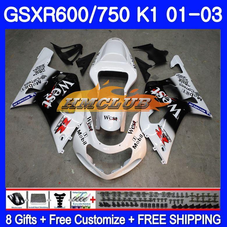 ¡Cuerpo para SUZUKI GSX-R750 GSXR 750 K1 GSXR600 01 02 03 3HM! 25 blanco oeste GSXR 600 01 03 GSXR-600 GSXR750 2001, 2002 de 2003 carenado
