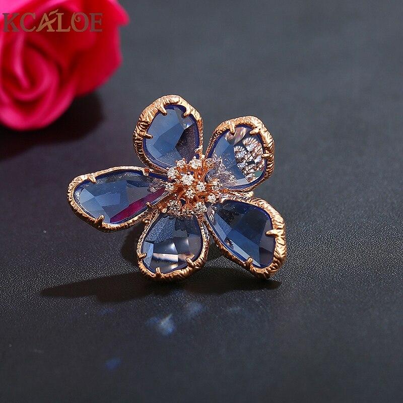 KCALOE Lyx Blå Transparent Crystal Stora Blommor Ringar För Kvinnor - Märkessmycken - Foto 4