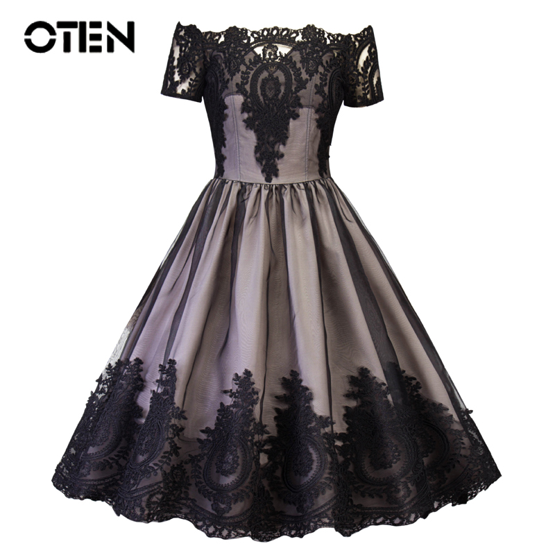 OTEN retro black <font><b>dress</b></font> lady new <font><b>2018</b></font> <font><b>summer</b></font> elegant <font><b>sexy</b></font> mesh lace Patchwork Off shoulder A Line swing <font><b>dress</b></font> <font><b>boho</b></font> vintage <font><b>dress</b></font> image