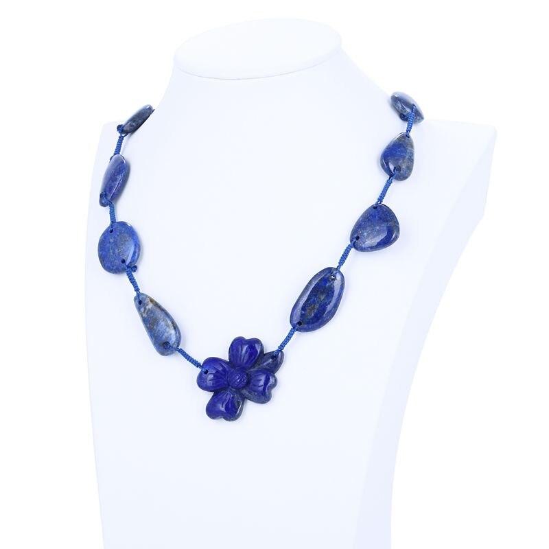 Cadeau d'anniversaire, bijou Personnalisé, Nouveau Design Naturel Lapis Lazuli Sculpture Fleur Collier Pendentif-Tissés À La Main Collier 44.5g