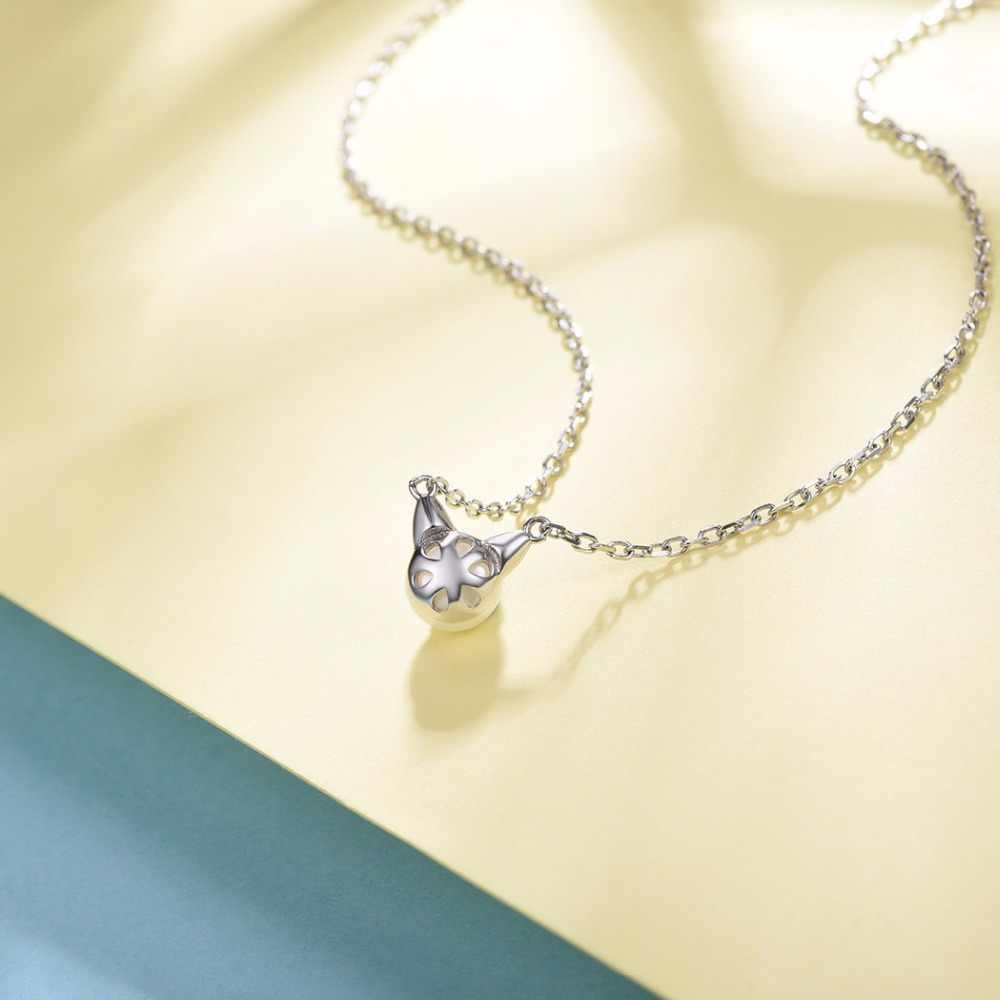 U7 925 Sterling Silver Mutiara Air Tawar Lucu Cat/Kitten Liontin & Rantai 2018 Hari ibu Wanita Hadiah Hewan perhiasan Kalung SC35