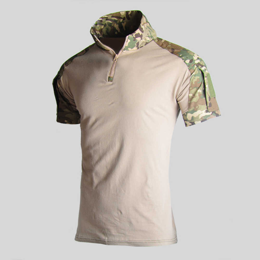 Aanval Camouflage Tactische T-shirt Mannen Korte Mouwen US Army Kikker Combat Tees Shirt Zomer Multicam Militaire Airsoft Shirts Polo