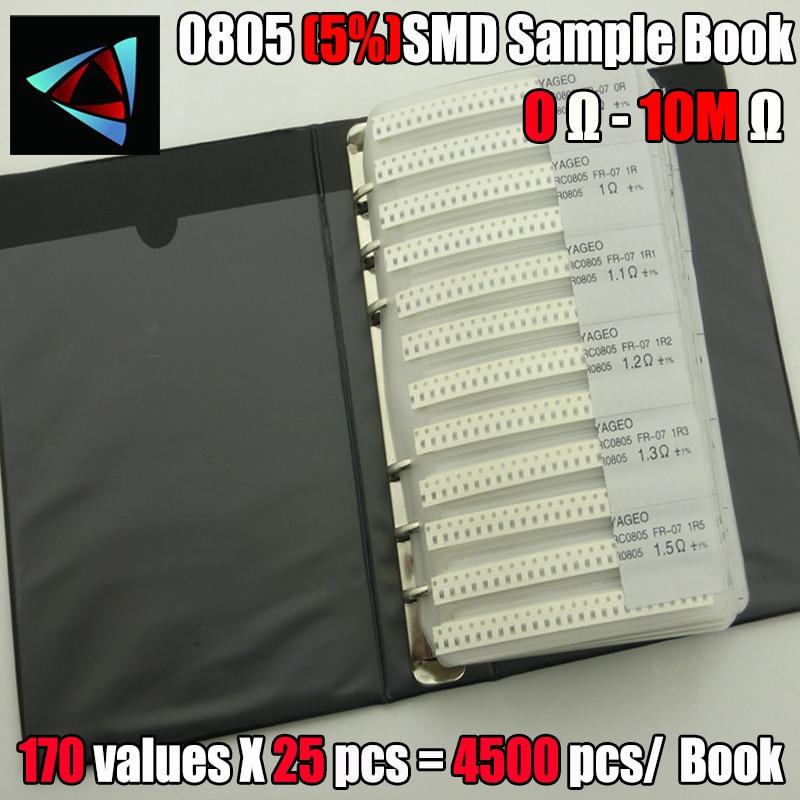 Новинка 0805 SMD образец резистора, книга с 5% толерантом 170 values25 шт. = 4250 шт. комплект резисторов 0R ~ 10 м