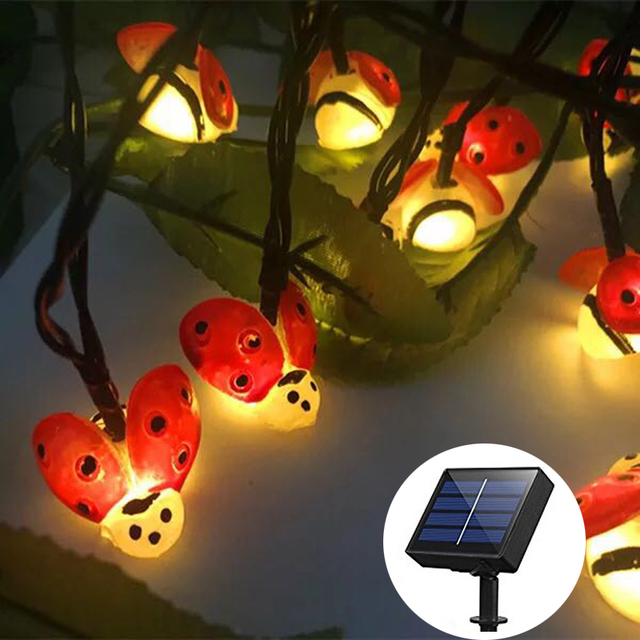 20leds 30leds LED Outdoor Solar Lamp Ladybug LED String Lights Holiday  Christmas Party Wedding Garlands Garden