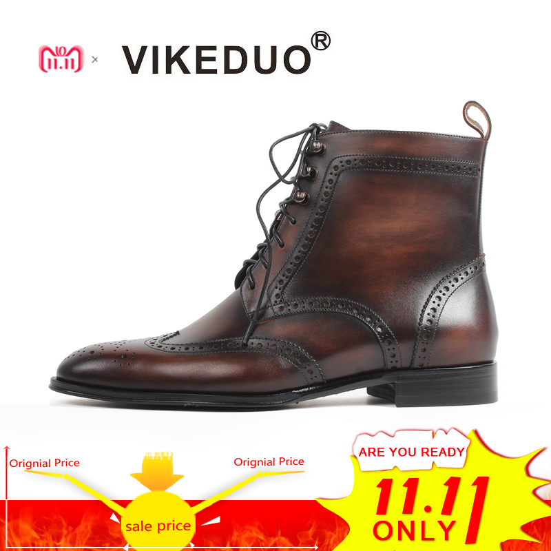VIKEDUO Patina Bespoke Handmade Genuine Cow Leather Ankle Boots For Men Brown Lace-Up Pointed Toe Brogue Flat Blake Boots Men стоимость