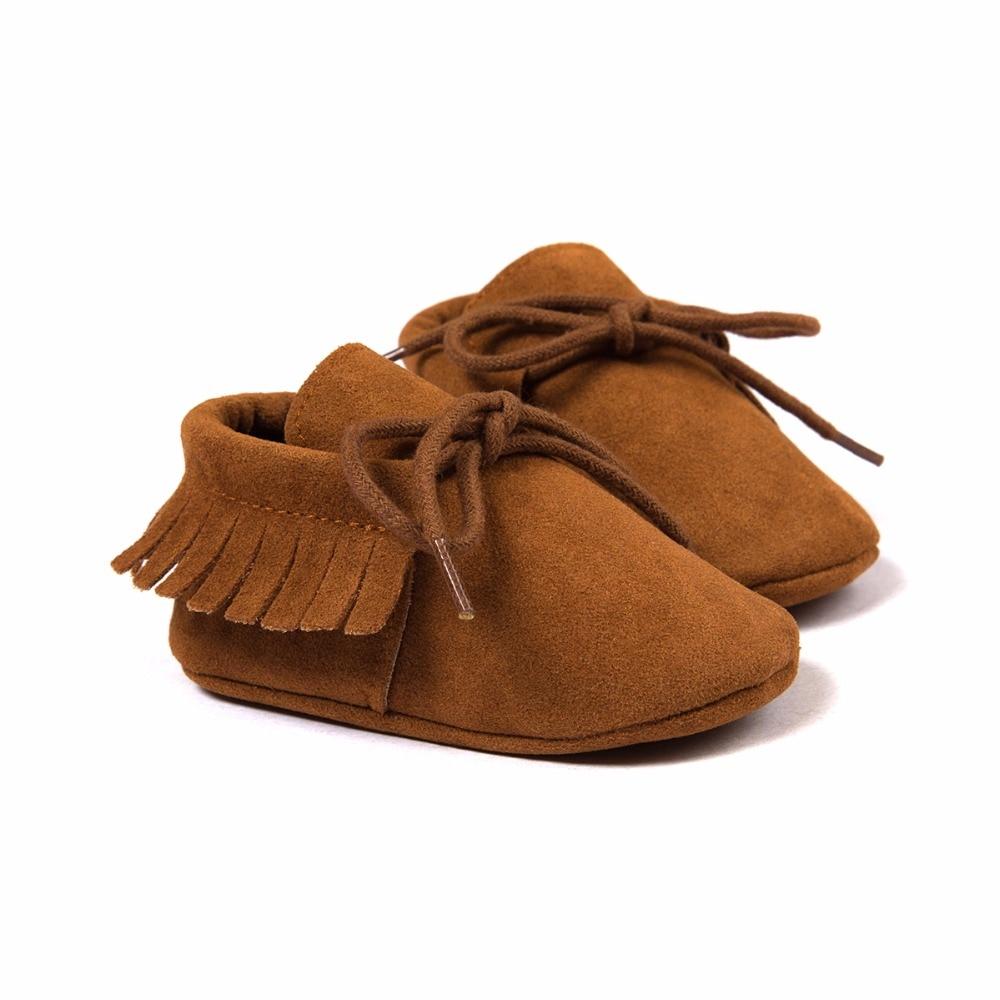 PU Suede Leather Newborn Baby Boy Girl Moccasins Soft Moccs Shoes Bebe Fringe Soft Soled Non-slip Footwear Crib Lace-up Shoe