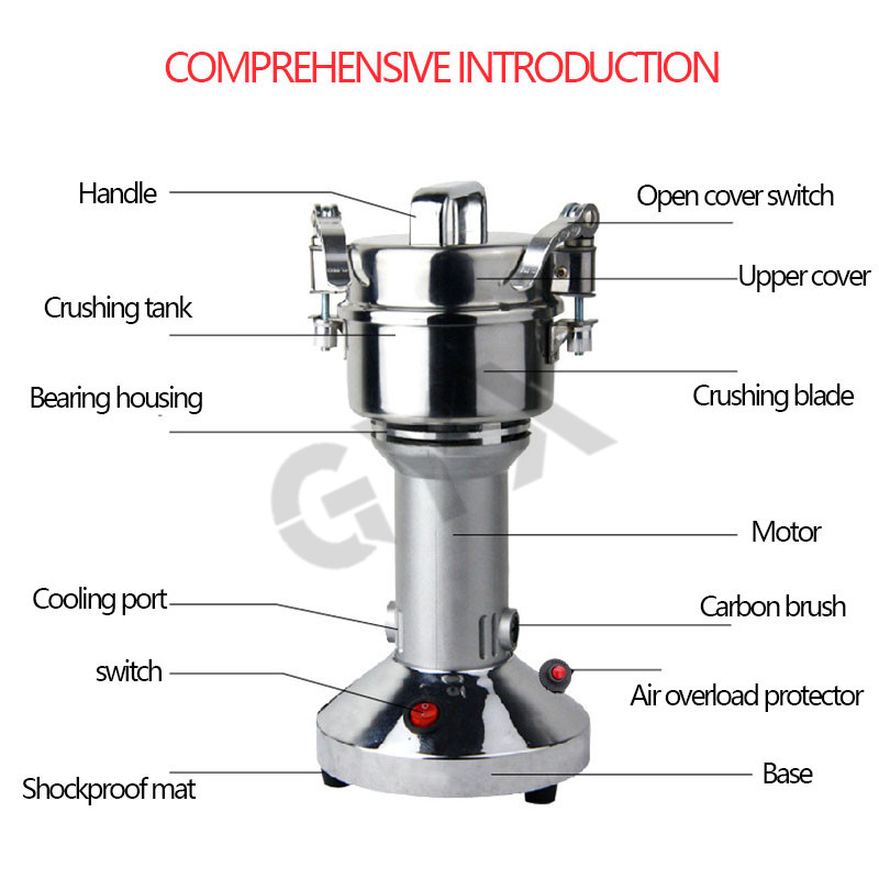 GUYX 900W Fully automatic mill Chinese medicine crusher Swing type electric grain mill Commercial small ultrafine mill