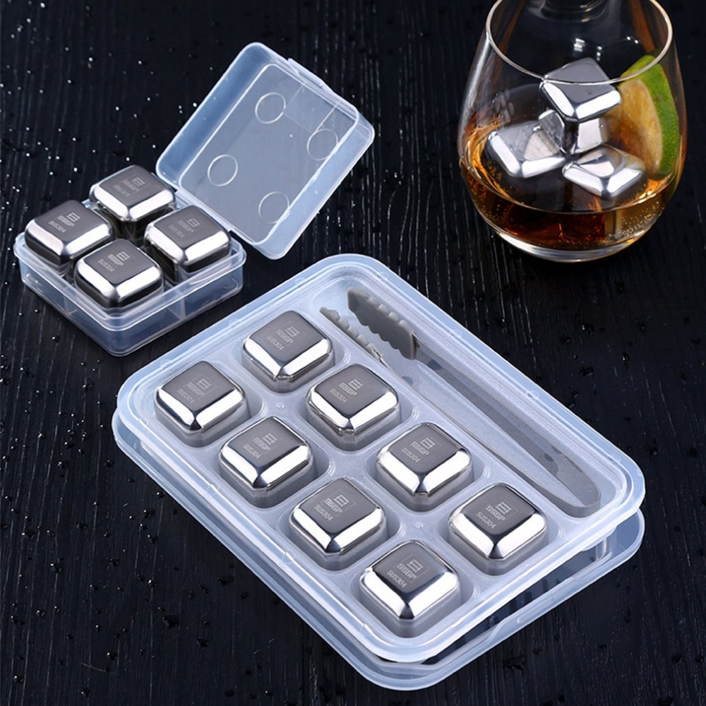 8psc/set Stainless Steel Whisky Ice Cubes+Clip Reusable Vodka Whisky Cocktails Cooling Stones Cooler Ice Cube Moulds Bar Tools image