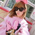 2017 Women Spring and Autumn Hoodies Mickey Lovely Soft Pink Strapless Shirt Collar Sweatshirts
