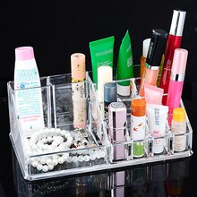 Hoomall New Clear Acrylic Makeup Storage Case Nail Polish Rack Lipstick Cosmetic Storage box Holder Makeup Brush Organizer(China)