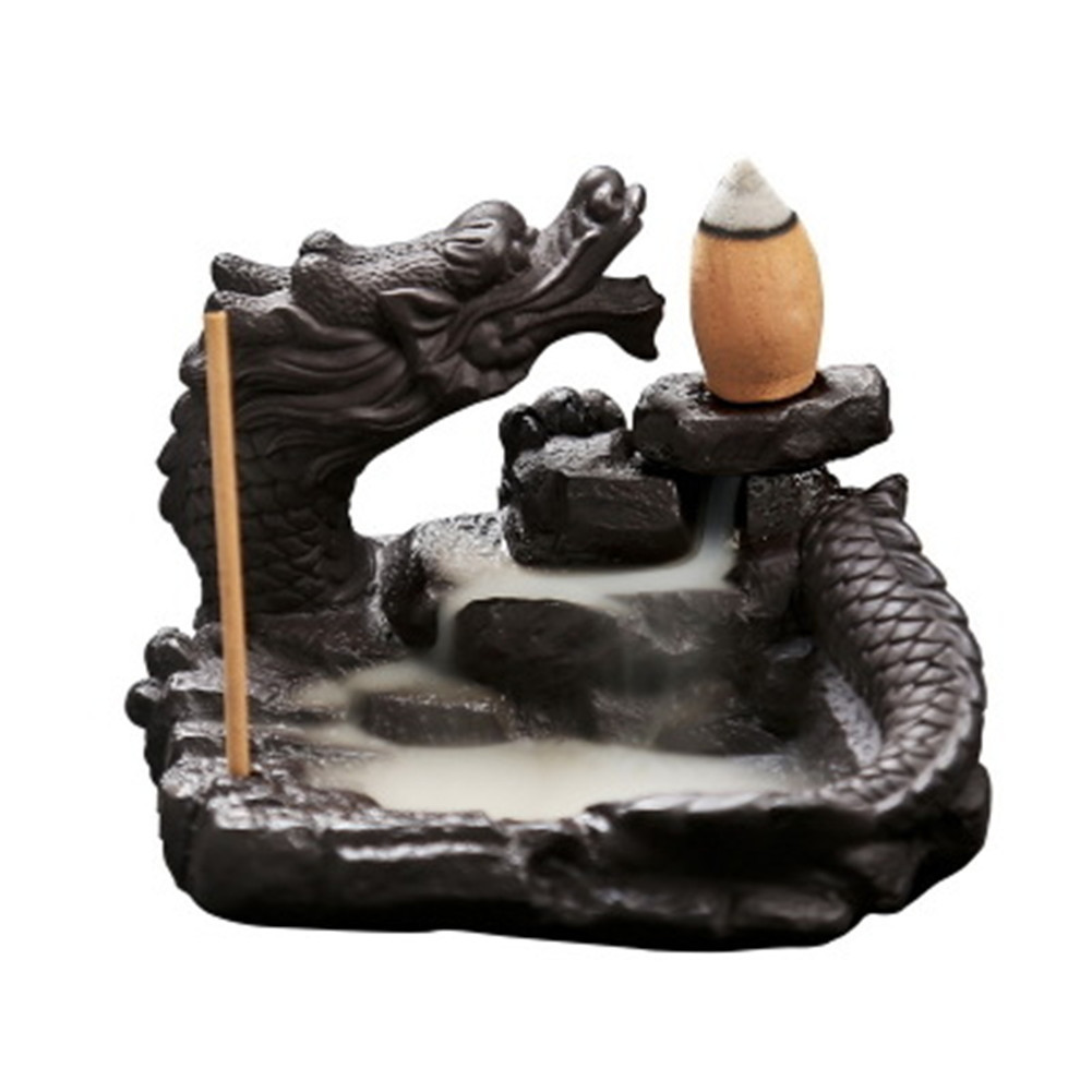 Delicate Chinese Dragon Black Waterfall Burner Ceramic Backflow Incense Holder Loong Ceramic Incense Burner 8.8*6.6cm