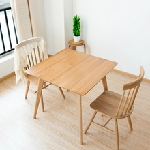 Solid Wood Dining Table Simple White Oak Square Table Wood Small Square  Dining Table(China