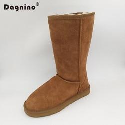 DAGNINO Women Original High Quality Brand Genuine Leather Australia Classic High Unisex Warm Winter Snow Boots Woman Botas Mujer