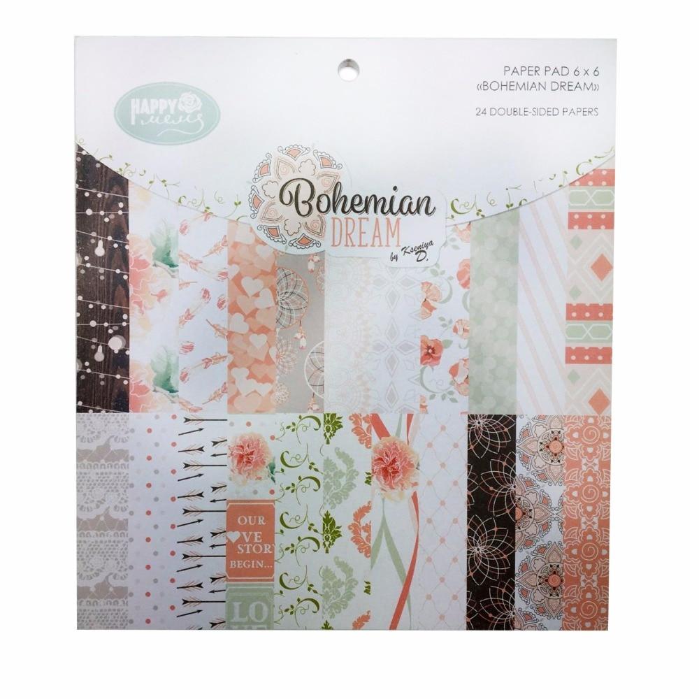 Scrapbook paper aliexpress - Pattern Decorative Scrapbooking Paper Set Of 24 Sheets Printed Background Craft Paper