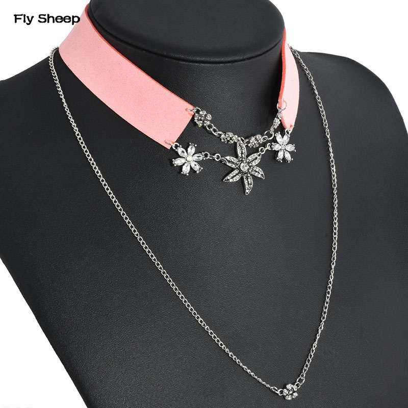 Fashion Ladys Rhinestones Chorker Necklace Luxury Wide Flannelette Flower Pendant Multilayer Chains Collar Necklaces Charming