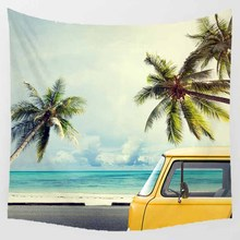 Hot sale square shape creative summer vacation style wall hanging tapestry home decoration tapiz pared