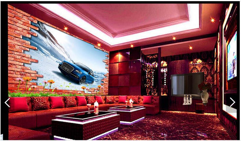 Customized 3d photo wallpaper 3d TV wall wallpaper murals Super clear 3 d TV setting wall brick wall car living room wallpaper