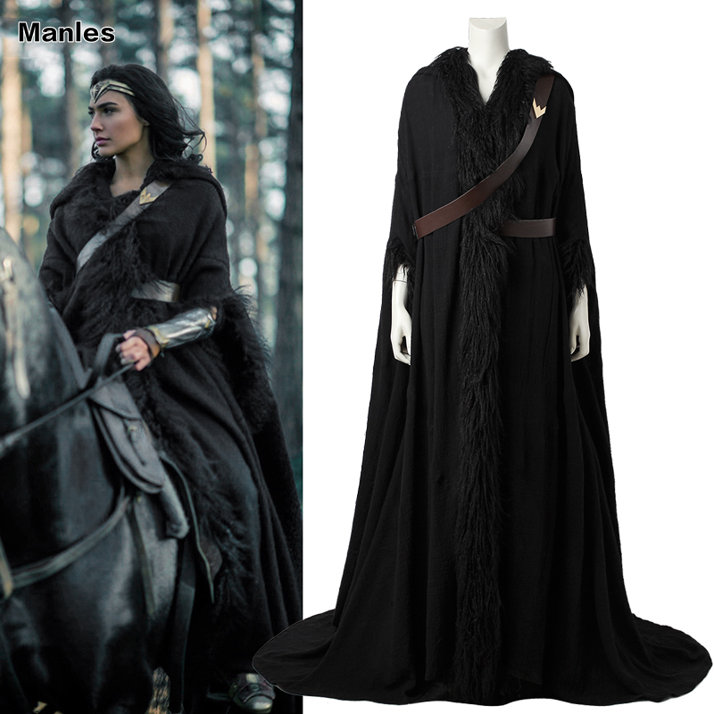 Wonder Woman Cosplay Cloak Diana Prince Costume Black Cape Halloween Costume Movie Superhero Clothing Adult Women