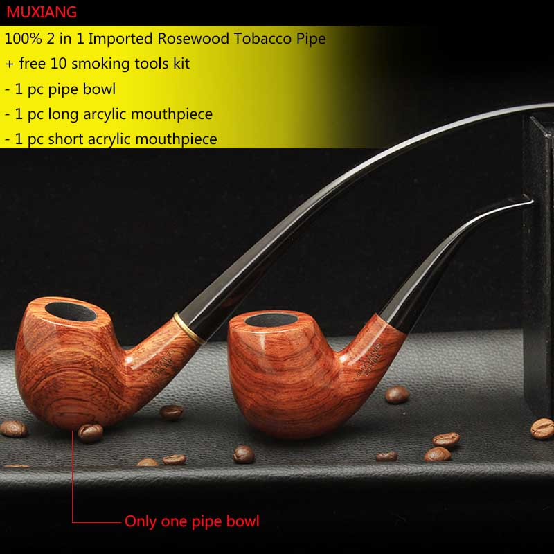 Rosewood Smoking Pipe with 9mm filter 10 smoking Tools Pipe Set