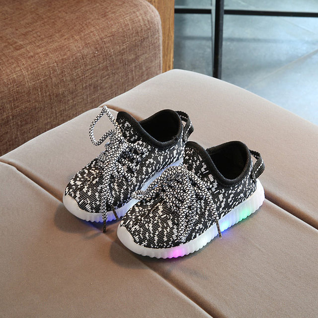 Luminous Sneakers Kids Shoes For Girl Led Sneakers With Boys Fashion Lighted Mesh Print Children Casual Sports Shoes EU 21-36