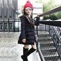 1 pcs moda longo parka casaco preto revestimento vermelho do inverno para crianças jaqueta meninas para crianças menino de roupas jaqueta corta-vento