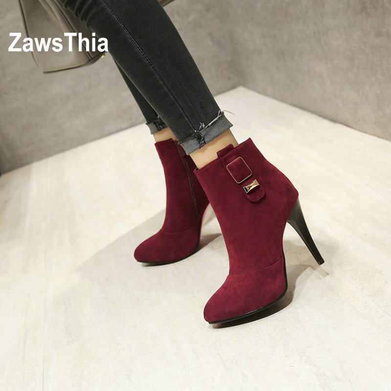 ZawsThia faux suede zip buckle ankle boots super thin high heels boots sexy pointed toe women boots winter shoes pumps for woman smonsdle 2018 new woman ankle boots shoes side zip thin high heels pointed toe kid suede boots designer woman autumn winter boot