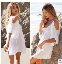 Style females's clothes Best Sellers European New Pattern Sexy Sandy Beach Strapless Dress Dress Woman #1075