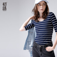 Toyouth Slim Striped Half Sleeves Women T Shirts New Arrivals O Neck Casual T Shirt Fashion