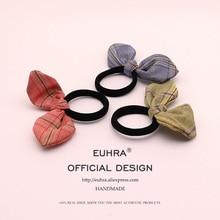 цены на EUHRA 4 Colors Rabbit Ears Bunny Plaid Cloth Elastic Hair Bands Hair For Women Girls Hair Band Kid Children Rubber Band  в интернет-магазинах