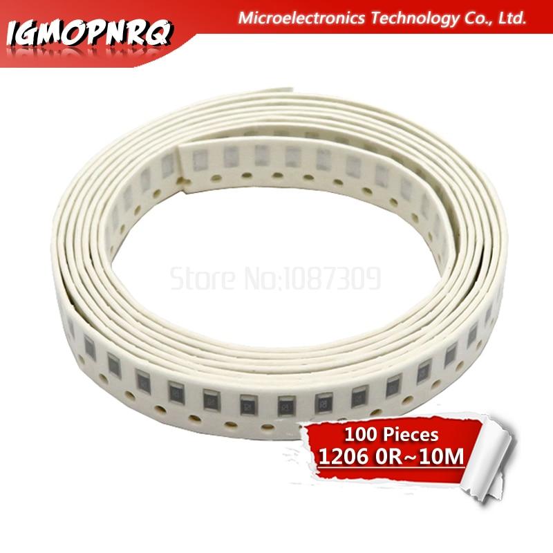 100Pcs 1206 SMD Resistor 0R - 10M 1/2W 0 1 10 100 150 220 330 470 Ohm 1K 2.2K 3.3K 4.7K 10K 100K 120K 270K  470K 680K 10M
