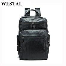 WESTAL Men Backpacks 100% Genuine Leather Men's Travel Bag Fashion Man Casual Backpack Leather Business Bag Male Backpack  8963