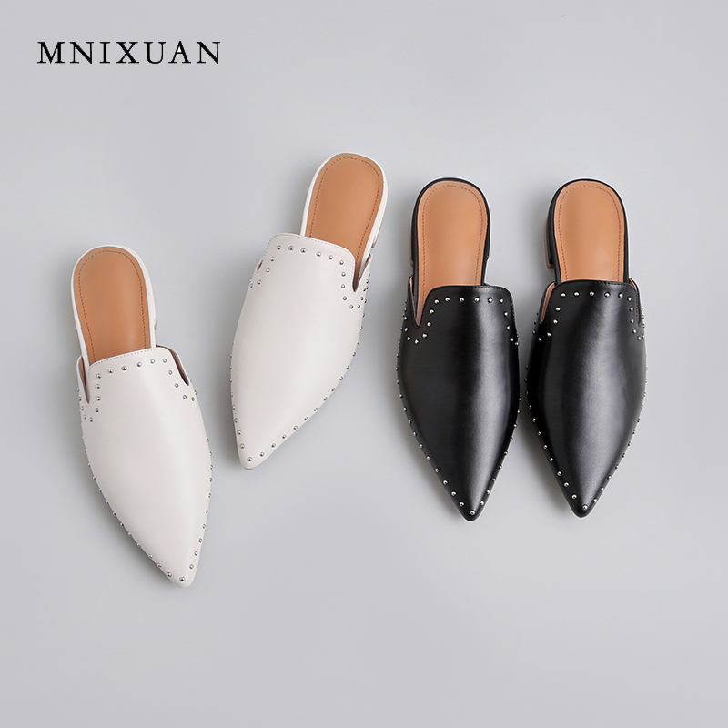 MNIXUAN Handmade women shoes flat mules 2019 summer new pointed toe outdoor genuine leather lazy slip