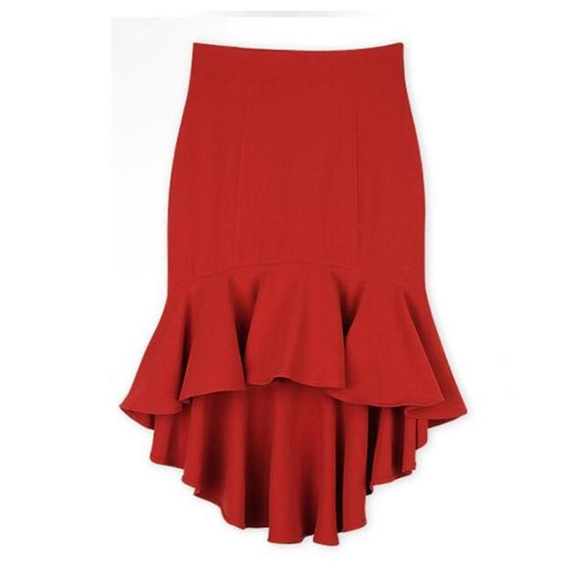 Sexy Falda de Talle Alto Nuevo Verano Mujeres de La Falda de Cola de Pescado Falda Corta Ocasional Para La Muchacha Negro Y Rojo