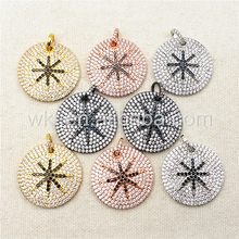WT-P1003 Popular Round CZ Micro pave pendant for necklace,Sparkly CZ micro paved Design Round Pendant Wholesale 5pcs/lot
