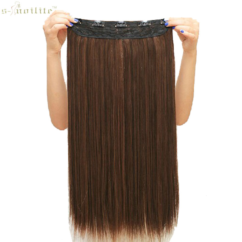 SNOILITE Synthetic Half Full Head Long Straight Clip In