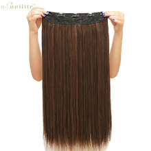 SNOILITE Synthetic Half Full Head Long Straight Clip in Hair Extensions One Piece Hair Piece 23inch & 26inch & 30inch