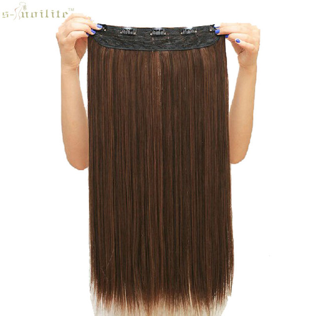 SNOILITE Synthetic Half Full Head Women Long Straight Clip in Hair Extensions One Piece Hairpiece 23inch & 26inch & 30inch