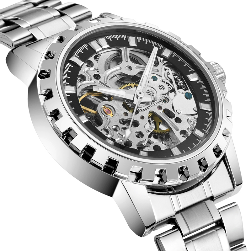 цена на 2016 brand Luxury Sport men's Automatic Skeleton Mechanical Military Watch Men Silver full Steel Band Stainless Steel Relogio