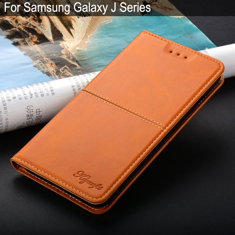 Galleria fotografica Case for samsung galaxy j3 j5 j7 j2 2016 2017 2018 prime coque luxury Vintage Leather Flip cover phone Case with magnets funda